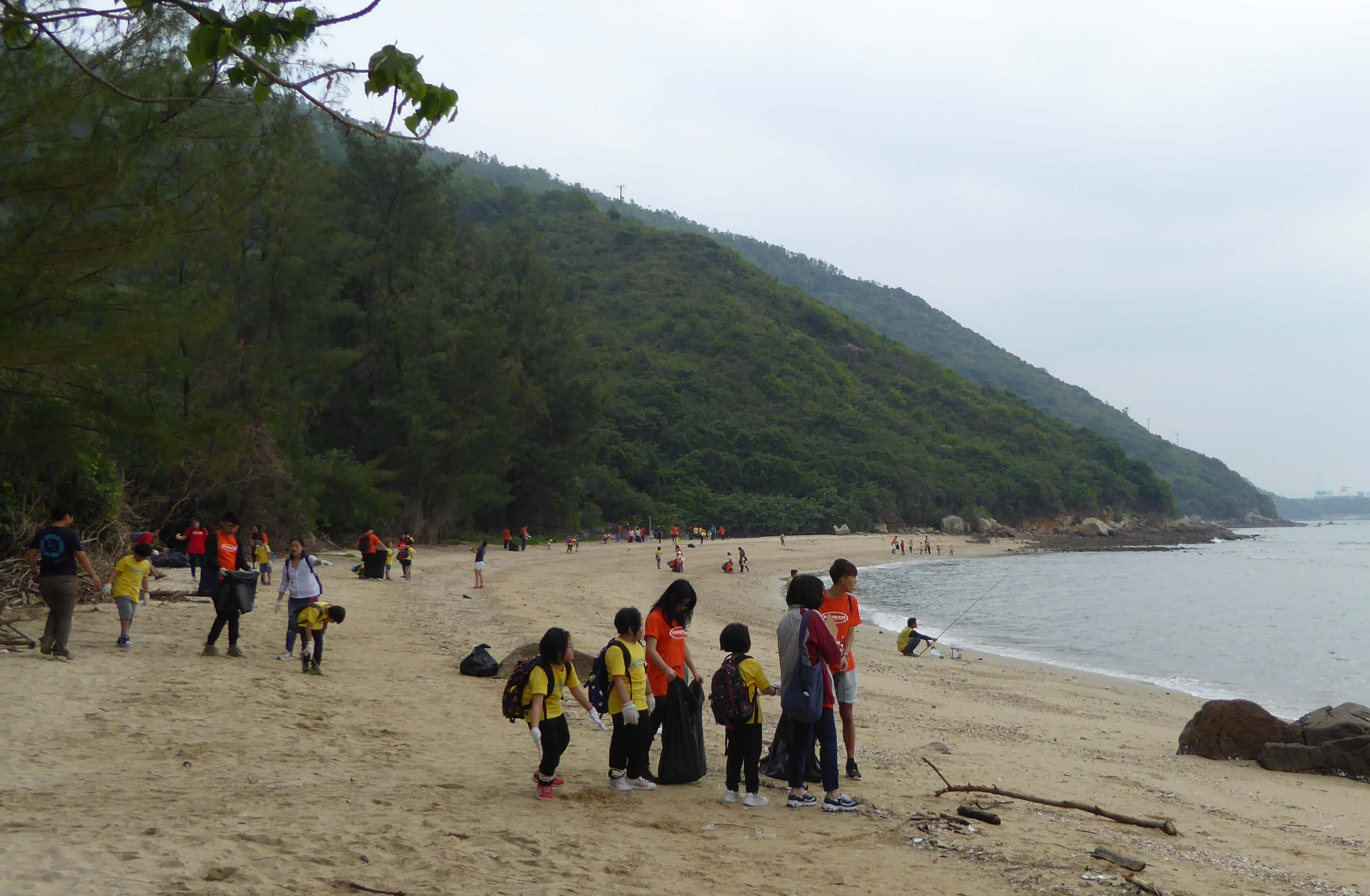 Cleaning beaches in Hong Kong