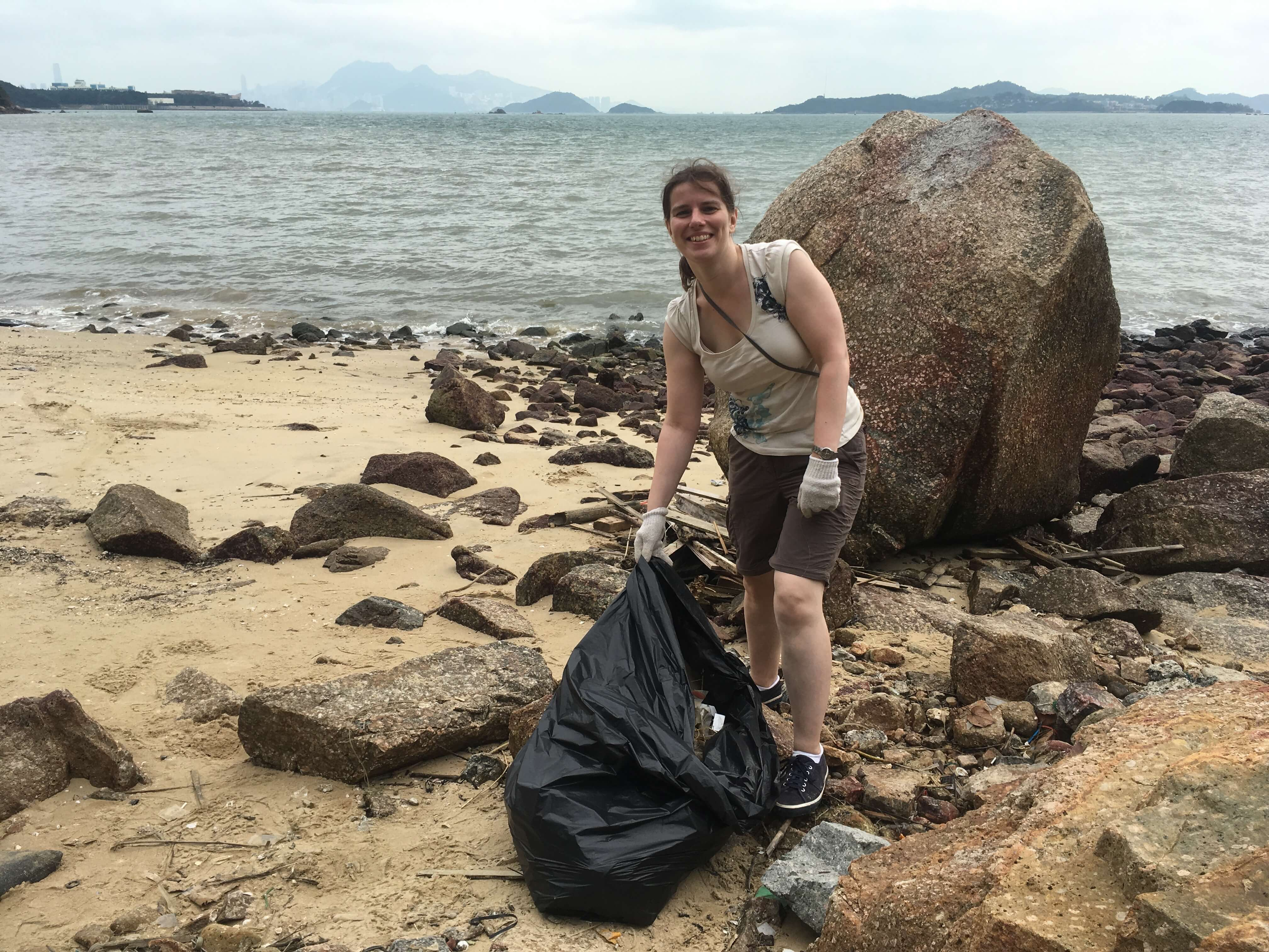Susan cleaning beaches in Hong Kong