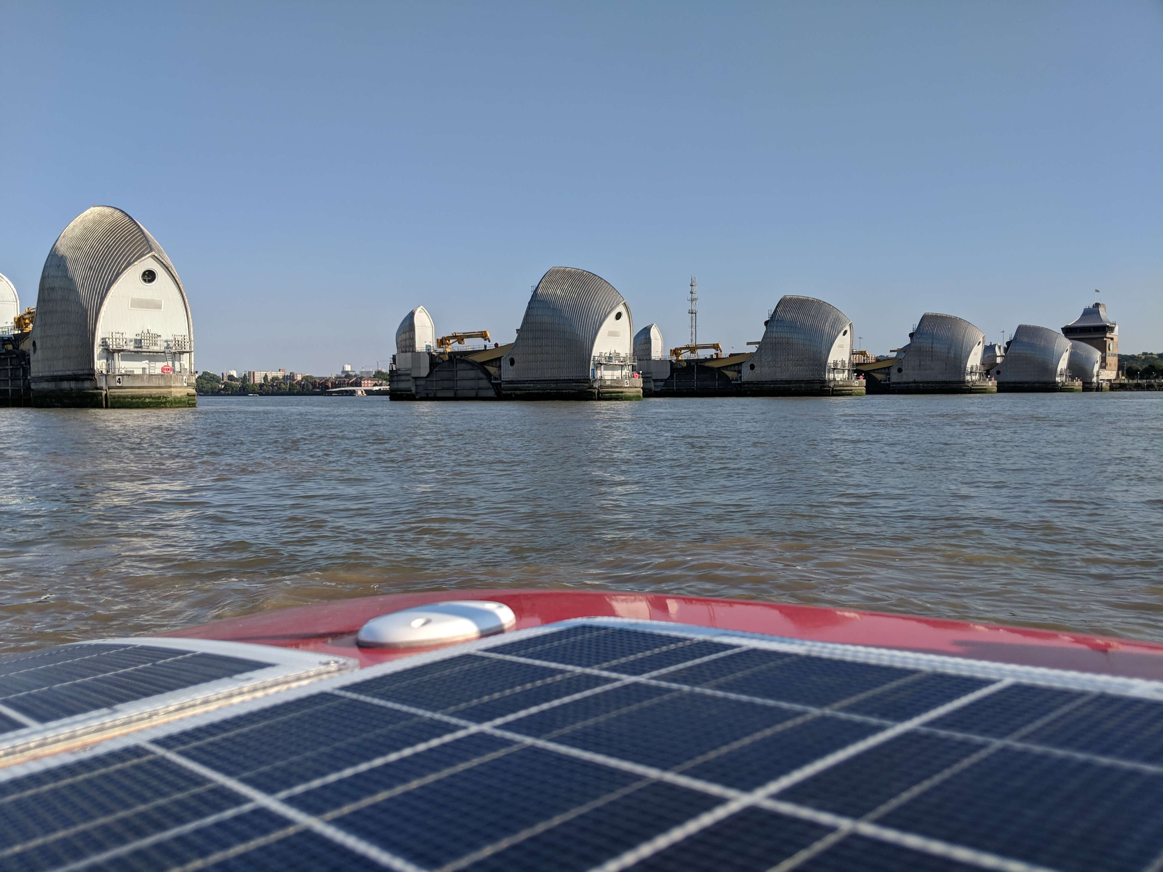 Rowing past the Thames Barrier