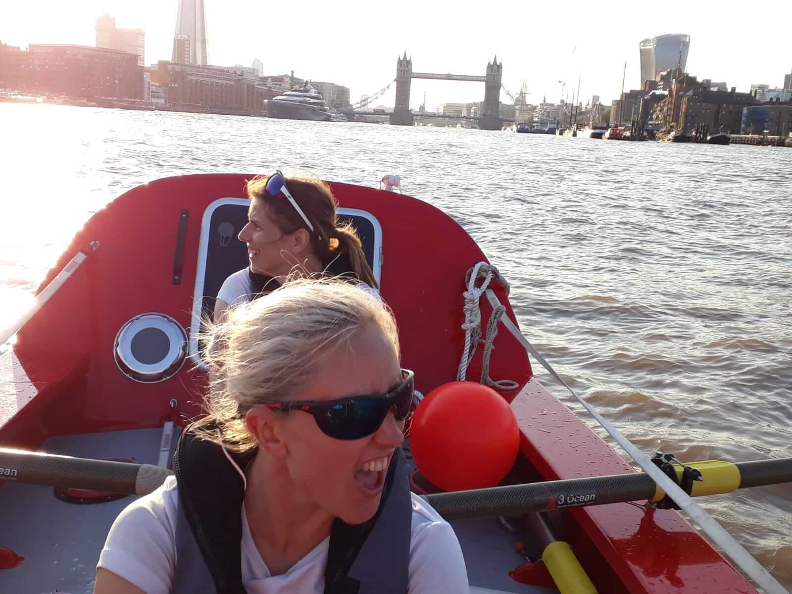 Rowing down the Thames